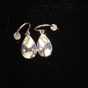 Sterling Silver,  abalone and pearl earrings